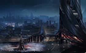 Картинка ночь, город, огни, будущее, арт, мегаполис, Min Kim