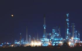 Картинка ночь, city, город, огни, завод, night, factory