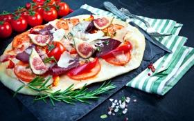 Обои пицца, помидоры, томаты, pizza, специи, ветчина, инжир