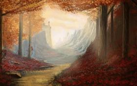 Обои осень, лес, небо, листья, деревья, замок, тропа