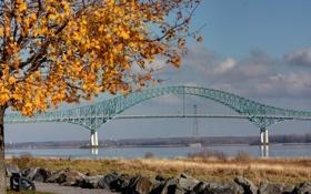 Обои осень, фото, города, мосты, скамейки, лавочки, осенние обои