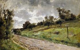 Картинка деревья, пейзаж, природа, картина, склон, Карлос де Хаэс, Дорога близ Виллервиля в Нормандии