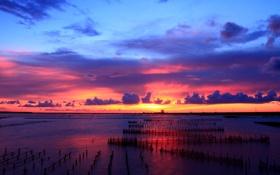 Обои закат, небо, поля, водяные