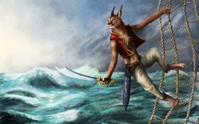 Обои море, шторм, сетка, фэнтези, арт, пират, рысь