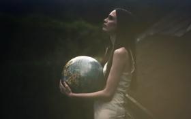 Обои фон, девушка, глобус