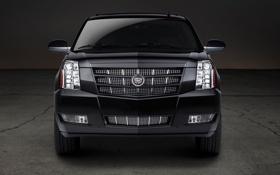 Картинка чёрный, фары, Cadillac, джип, внедорожник, полумрак, Escalade