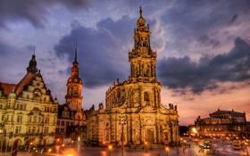 Обои площадь, Дрезден, дома, ночь, hdr, Германия, огни