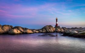 Картинка море, небо, свет, синий, отражение, камень, маяк