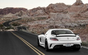 Обои Mercedes-Benz, Дорога, Скалы, Белый, Пустыня, AMG, SLS