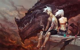 Обои девушка, город, огонь, дракон, тату, арт, сигарета