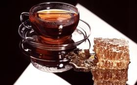 Картинка посуда, мед, сладость, блюдце, чаепитие, чашка, отражение