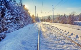 Картинка перспектива, пейзаж, зима, железная дорога