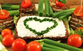 Обои зелень, масло, лук, хлеб, помидоры, бутерброды