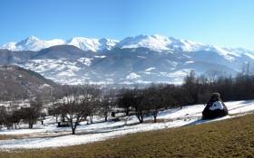 Обои panorama, mountain, spring