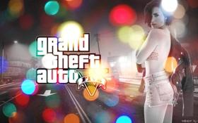 Обои город, GTA 5, GTA V, блики, картинка, девушка, Grand Theft Auto 5