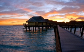 Картинка мостик, French Polynesia, Французская Полинезия, восход, океан