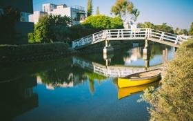 Картинка вода, дом, лодка, канал