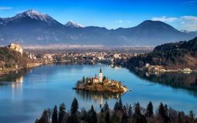 Обои water, city, słowenia górym
