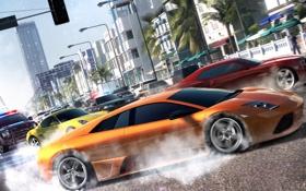 Обои машины, гонка, Lamborghini, Porche, Chevrolet Camaro, Ubisoft Reflections, The Crew