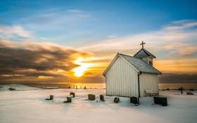 Обои закат, Winter, Varhaug old church