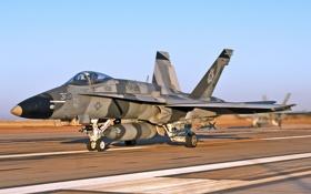 Картинка полоса, истребитель, взлет, многоцелевой, FA-18C Hornet