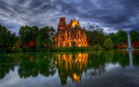 Обои деревья, пруд, парк, Германия, собор, фонтан, germany