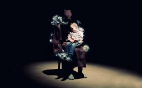 Обои дым, человек, стул, плащ, ребёнок, мрачно, круг света