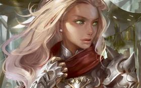 Обои взгляд, девушка, доспехи, арт, блондинка, профиль, зеленые глаза