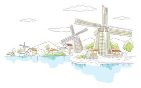 Обои Голландия, векторный, рисованный город