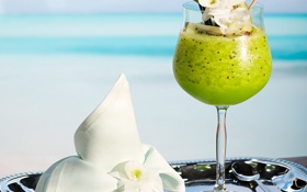 Обои fresh, tropical, summer, kiwi, sea, коктейль, cocktail