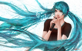 Картинка девушка, микрофон, vocaloid, hatsune miku, вокалоид, art, песня