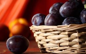 Картинка стол, корзина, фрукты, сливы
