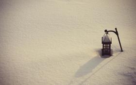 Обои зима, снег, настроение, минимализм, фонарь
