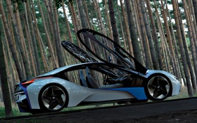 Обои авто, Concept, лес, двери, BMW, Vision, EfficientDynamics