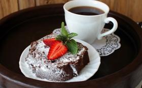 Картинка кофе, клубника, мята, десерт, кекс, сахарная пудра