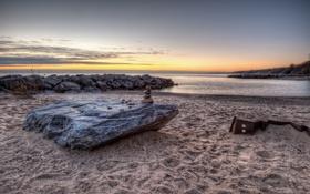 Картинка песок, пляж, пейзаж, природа, камни