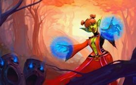 Обои лес, магия, маг, WoW, World of Warcraft, гоблин, art
