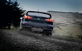 Картинка машина, авто, поворот, занос, Mitsubishi, Lancer Evolution X
