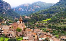 Обои горы, здания, дома, панорама, Испания, Spain, Balearic Islands