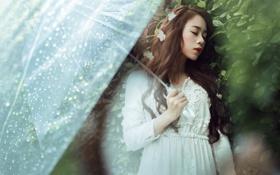 Обои девушка, дождь, настроение, зонт