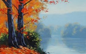 Обои рисунок, арт, artsaus, autumn-lake-prints