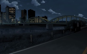 Обои дорога, облака, ночь, мост, город, night bridge, City lights