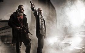 Картинка ретро, улица, пистолеты, дым, бандиты