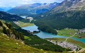 Обои долина, река, поселок, дома, горы, небо, озеро