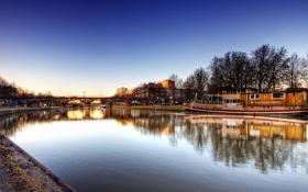 Обои река, Германия, Саар, Saarbrucken, Саарбрюккен