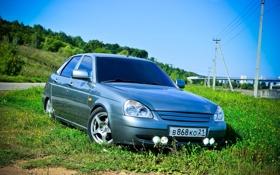 Обои машина, авто, лето, трава, auto, LADA, Priora