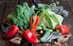 Обои зелень, красный, перец, овощи, капуста, ножницы, огурцы