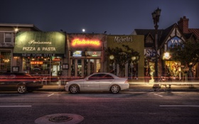 Обои ночь, california, калифорния, night, Pizza, Hermosa Beach