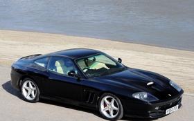 Картинка река, черная, феррари, Ferrari 550 Maranello