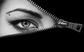 Обои взгляд, глаз, молния, макияж, родинка